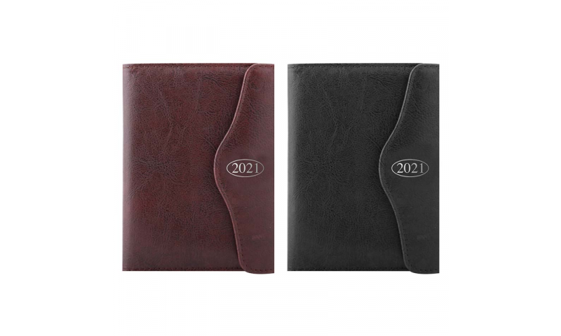 A6 Daily 2022 Weekly Leatherette Organiser, Magnetic Flap & Pen, 2 Asstd