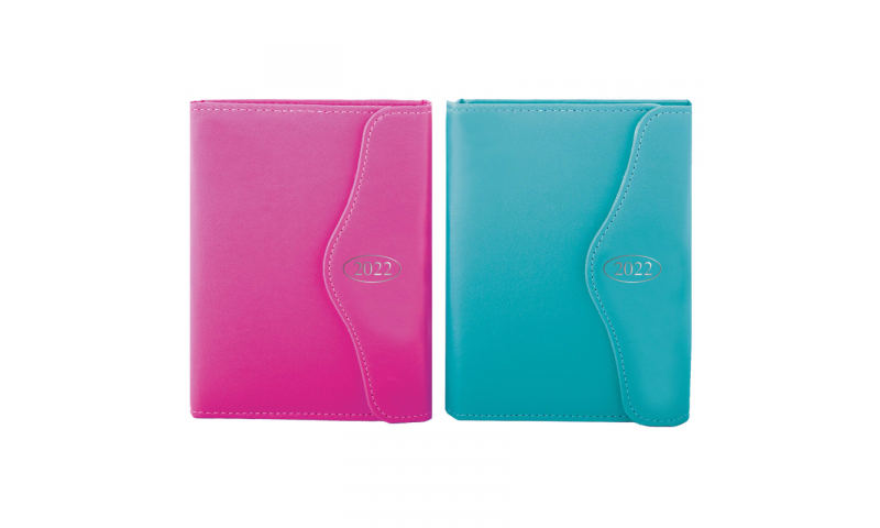 A6 Daily Leatherette 2022 Organiser, Magnetic Flap & Pen, Pink & Blue