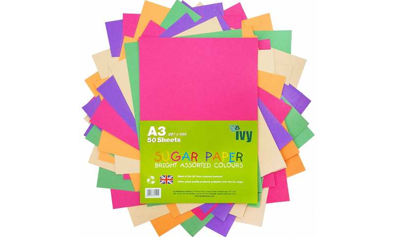 Ivy A3 Sugar paper, Bright Colours 50 sheets Asstd