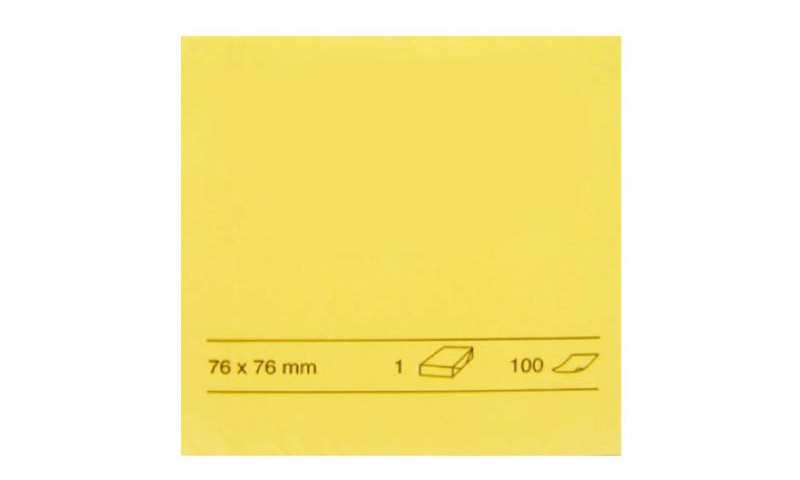 """Stick'N Budget Yellow 76x76mm (3x3"""") Sticky Notes, 100 Sheets, Film Wrapped (New Lower Price for 2021)"""