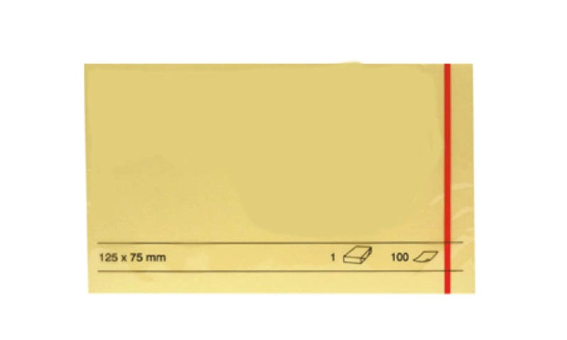 """Stick'N Budget Yellow 127x76mm (5x3"""") Sticky Notes, 100 Sheets, Film Wrapped (New Lower Price for 2021)"""