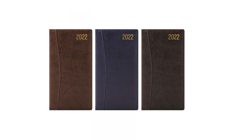 Tallon Slim Weekly Leatherette Diary 2022 with Stitched Detail, 3 Asstd, in CDU