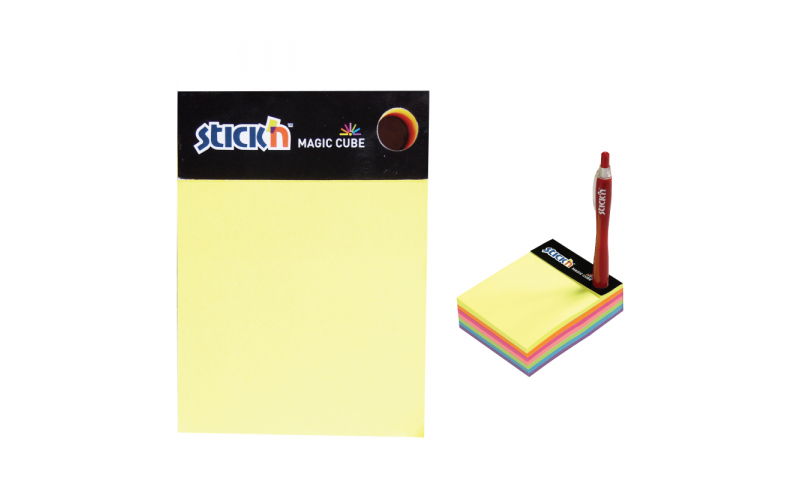 """Stick'N Magic Neon Stick""""N"""" Notes 280 Sheet Desk Block with Pen Hole"""