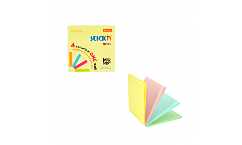 """Stick'N Magic Stick""""N"""" Notes Pastel Always Open At Each Colour, 4 Colours in One Pad, 100 Sheet Pad Size 76x76mm (3x3)"""