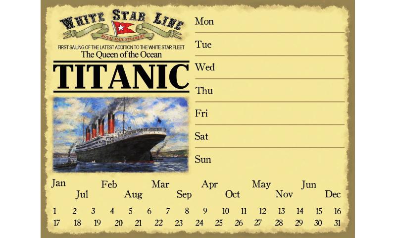Titanic Metal Drywipe Perpetual Calendar/Memo board & marker