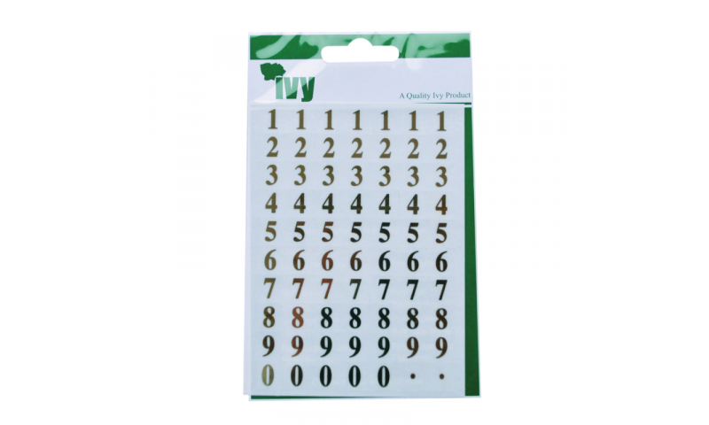 IVY Stickers Gold Numbers 140 Stickers 11x11 mm
