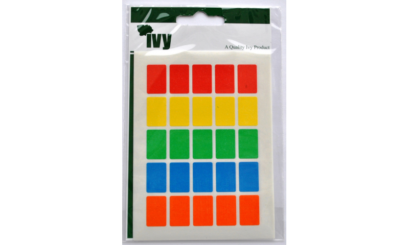 IVY Coloured Rectangular Labels 120 per Pack 12x18mm - Asstd Colours