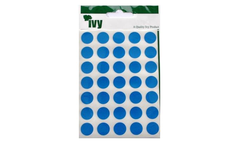 IVY Coloured Circular Labels 140 per Pack 13mm -Blue