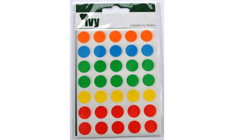 IVY Coloured Circular Labels 140 per Pack 13mm - Asstd Colours