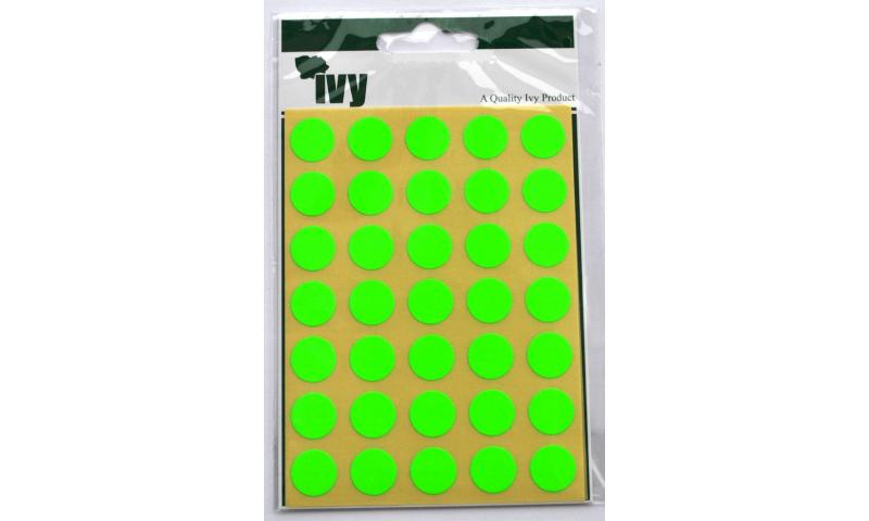 IVY Coloured Circular Labels 140 per Pack 13mm -Green