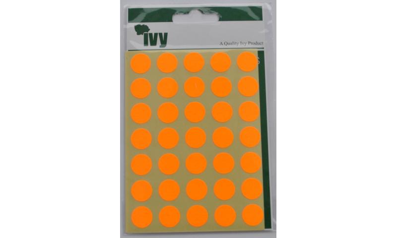IVY Coloured Circular Labels 140 per Pack 13mm - Orange