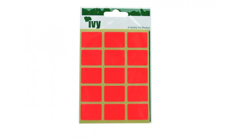 IVY Flourscent  Rectangular Labels 60 per Pack 19x25mm - Orange
