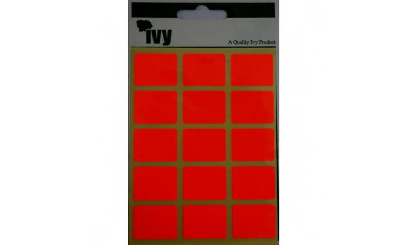 IVY Flourscent  Rectangular Labels 60 per Pack 19x25mm - Red