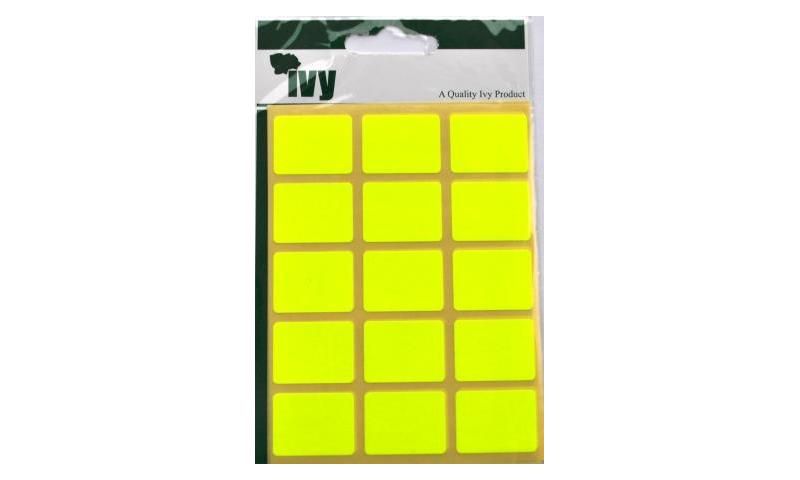IVY Flourscent  Rectangular Labels 60 per Pack 19x25mm - Yellow