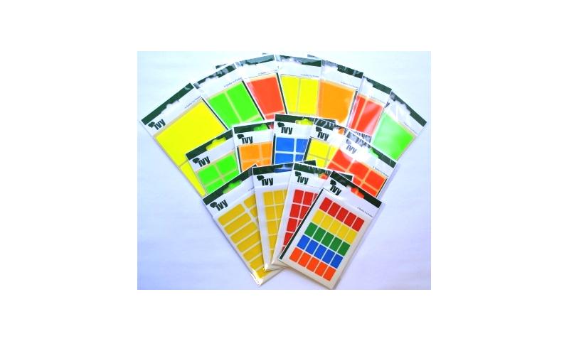 IVY Flourscent  Rectangular Labels 24 per Pack 25x50mm - Red