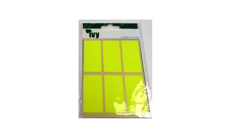 IVY Flourscent  Rectangular Labels 24 per Pack 25x50mm - Yellow