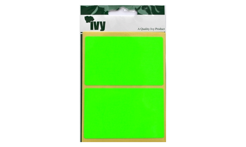 IVY Flourscent  Rectangular Labels 8 per Pack 50x80mm - Green