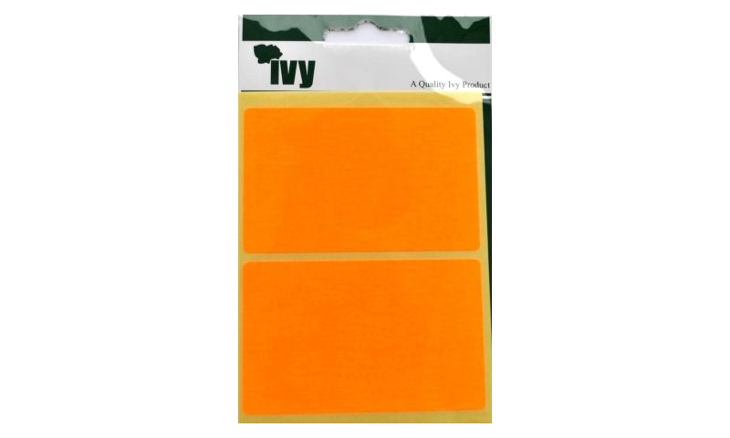 IVY Flourscent  Rectangular Labels 8 per Pack 50x80mm - Orange