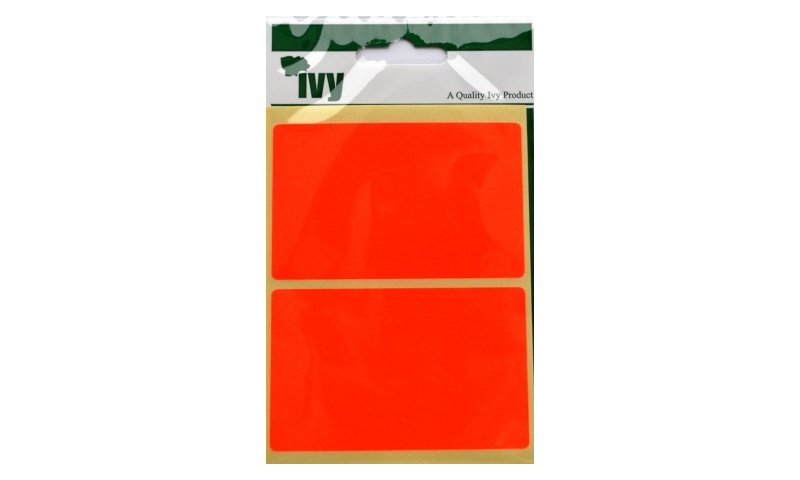 IVY Flourscent  Rectangular Labels 8 per Pack 50x80mm - Red