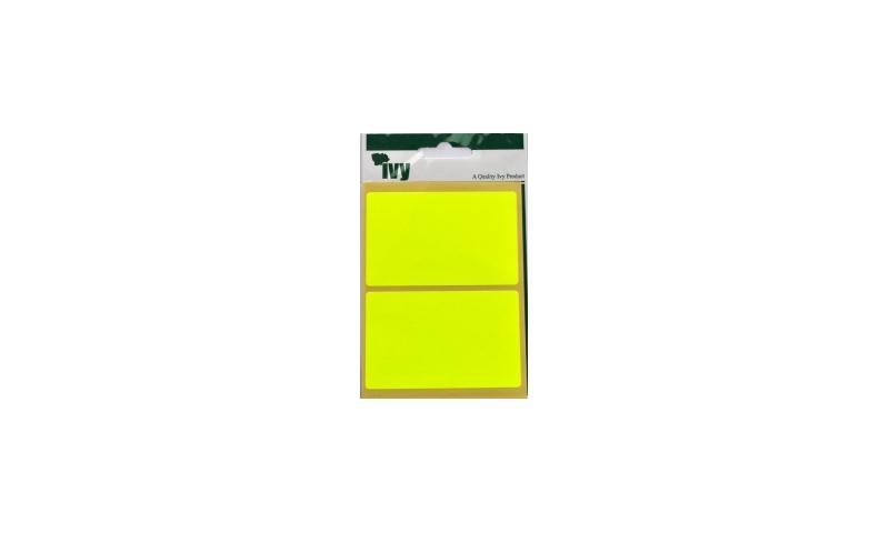 IVY Flourscent  Rectangular Labels 8 per Pack 50x80mm - Yellow