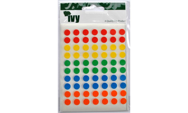 IVY Coloured Circular Labels 350 per Pack 8mm - Asstd Colours