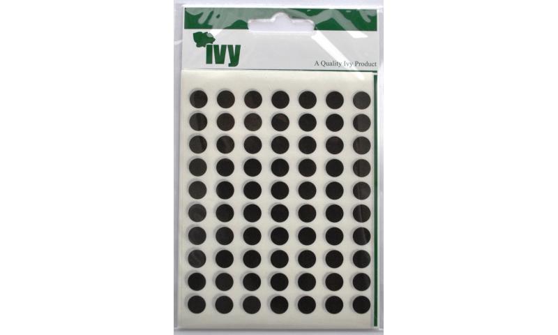 IVY Coloured Circular Labels 490 per Pack 8mm - Black