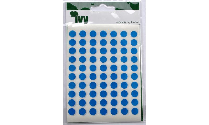 IVY Coloured Circular Labels 490 per Pack 8mm - Blue