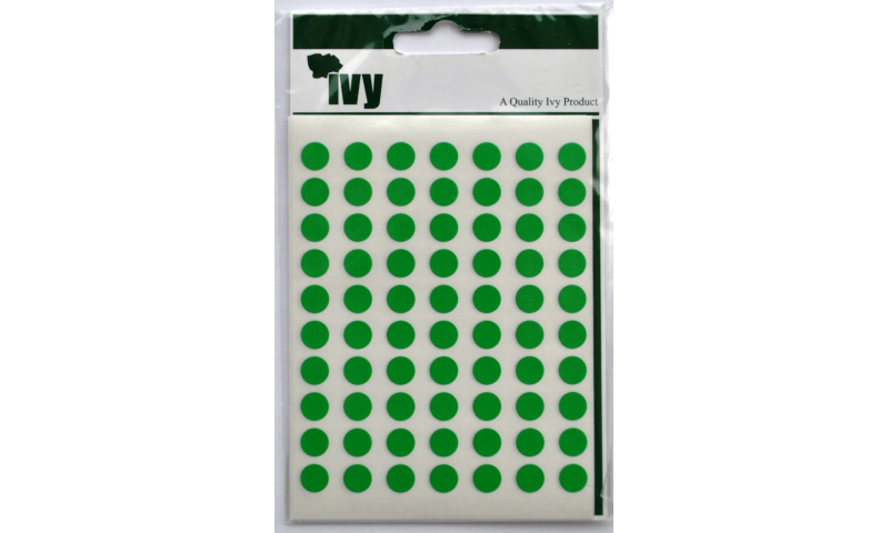 IVY Coloured Circular Labels 490 per Pack 8mm - Green
