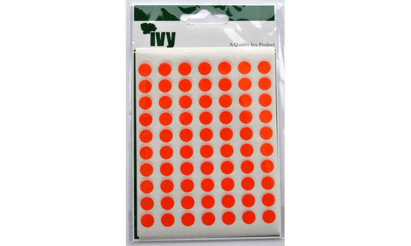 IVY Coloured Circular Labels 490 per Pack 8mm - Orange