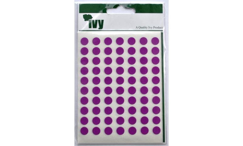 IVY Coloured Circular Labels 490 per Pack 8mm - Purple