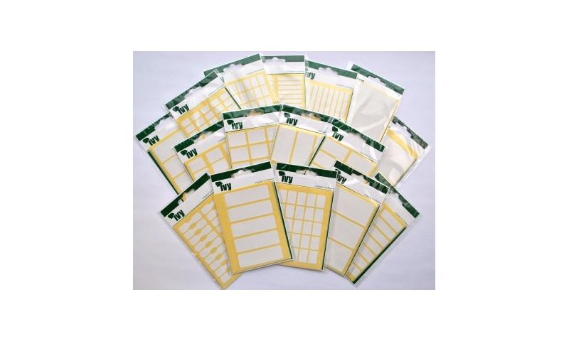 IVY White Rectangular Labels 343 per Pk 9x13mm