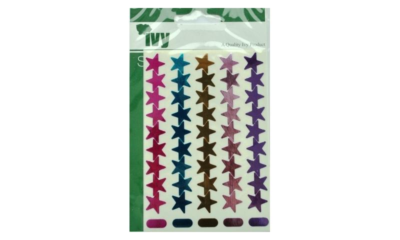 IVY Stars Shiny Metallic Labels 90 per Pack 15mm - Asstd Pastel
