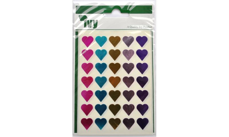 IVY Metalic Hearts Labels 70 per Pack 15mm - Asstd Colours