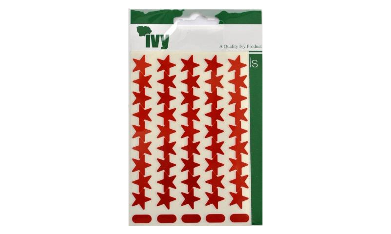 IVY Stars Shiny Metallic Labels 135 per Pack 15mm - Red