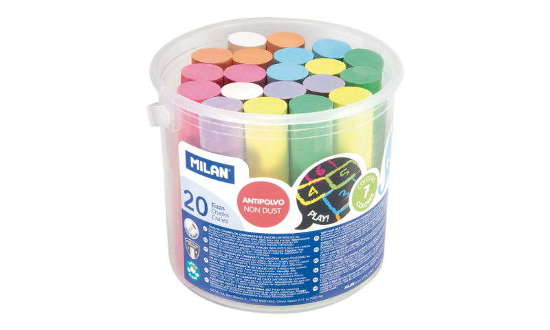 Milan Anti-Dust Jumbo Sidewalk Chalk, Bulk Can of 20, Asstd Colours