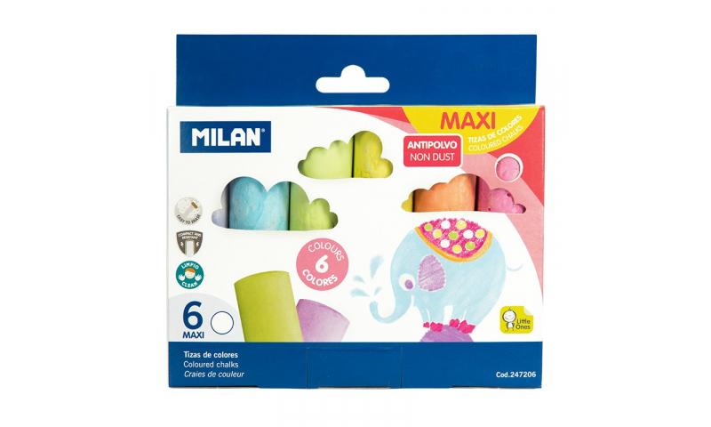 Milan Anti-Dust Jumbo Sidewalk Chalk, 6pk Asstd Colours