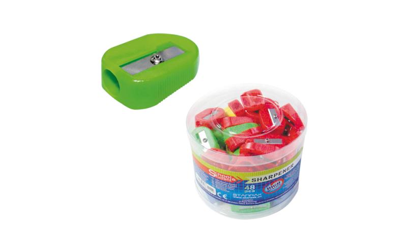 Starpak Single Hole Plastic Sharpener, Asstd Colours in Tub.