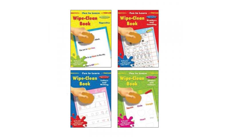 Childrens Books Fun Learning Wipe Clean Beginners Book, 4 asstd