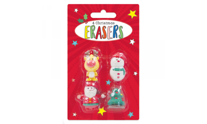 Xmas 3D Shaped Erasers, 4 pack Assorted, Carded