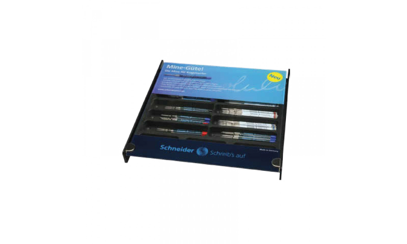 Schneider Refill Counter Display, Filled With 180 Refills, Black, Blue & Red. In The 7 Most Popular Styles, Display of 180