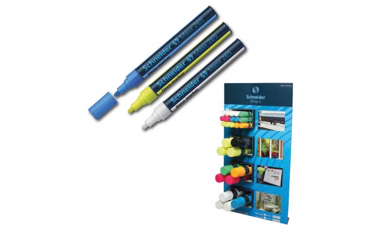 SCHNEIDER Paint Marker Display, 12 x 260 Jumbo Asstd & 15 x 265 Bullet Asstd