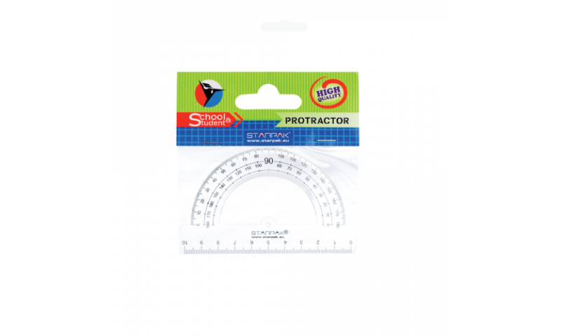Starpack Acrylic 180 Degree Protractor Hangcarded, 10cm