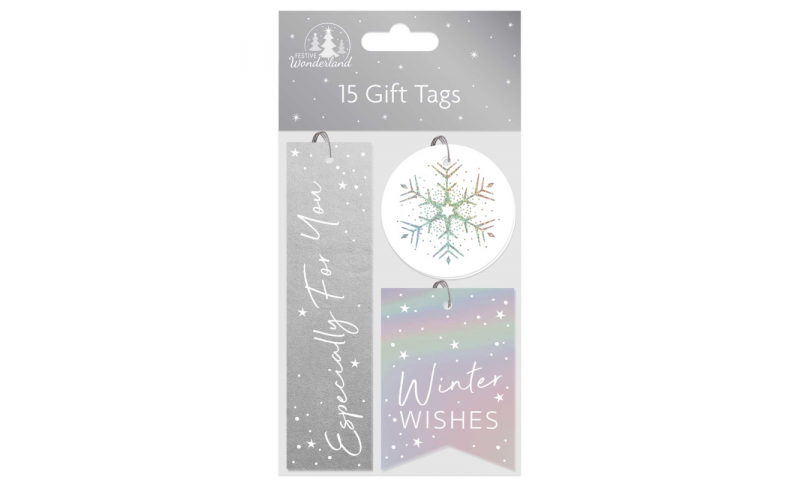 Xmas Traditional Silver Metallic Gift Tags, Pack of 15 Asstd