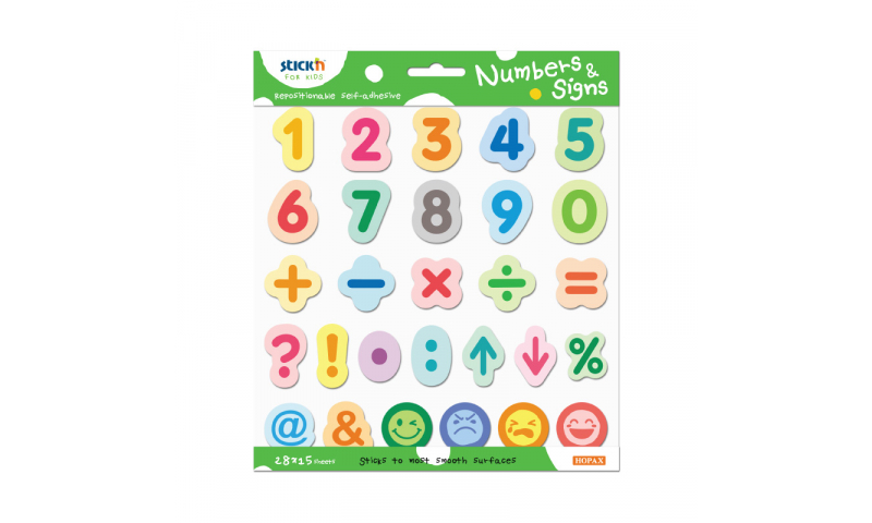 Stick'N for Kids Repositionable Colourful Numbers & Symbols, 420 in pack