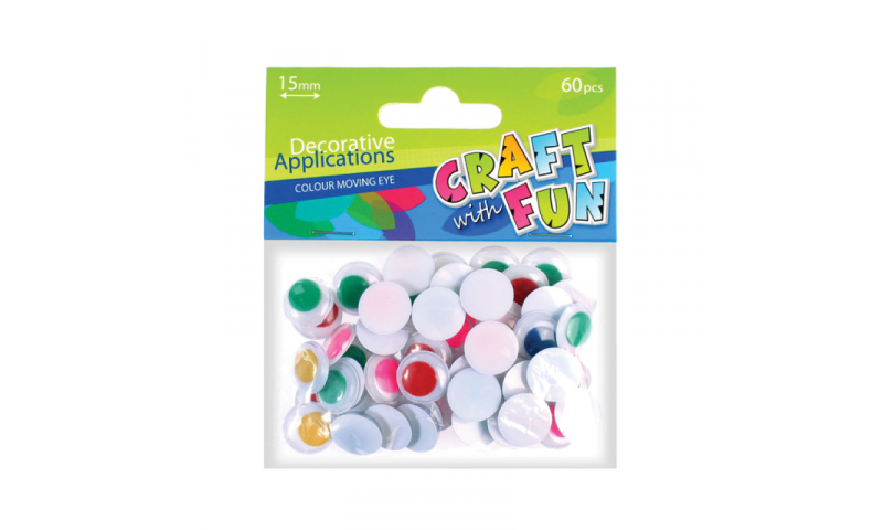 CRAFT with FUN MOVING EYE COLOUR 15MM/60PCS
