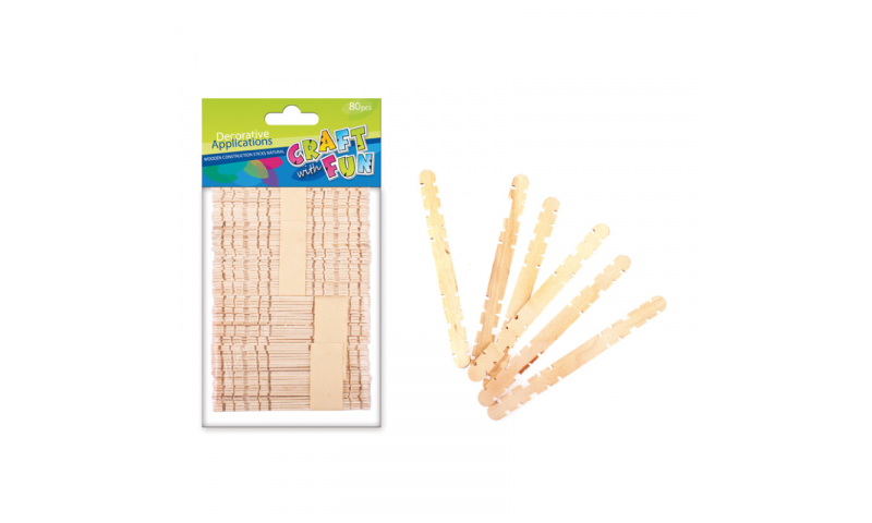 CRAFT with FUN INTERLOCKING WOODEN STICKS NATURAL 80PCS (New Lower Price for 2021)