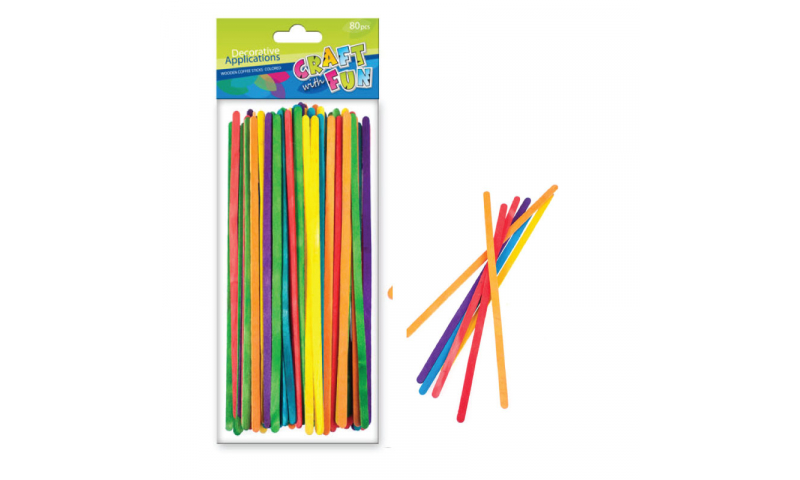 CRAFT with FUN WOODEN  SLIM STICKS 19cm COLOURED 80PCS (New Lower Price for 2021)