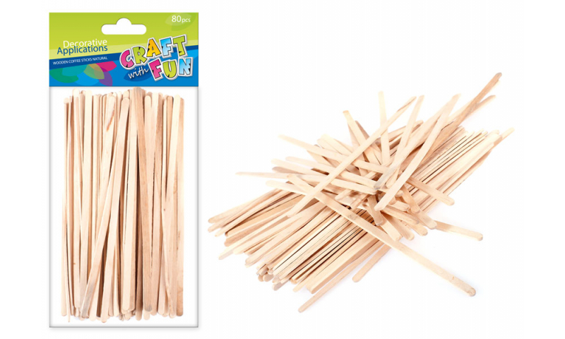 CRAFT with FUN WOODEN  SLIM STICKS 19cm NATURAL 80PCS (New Lower Price for 2021)