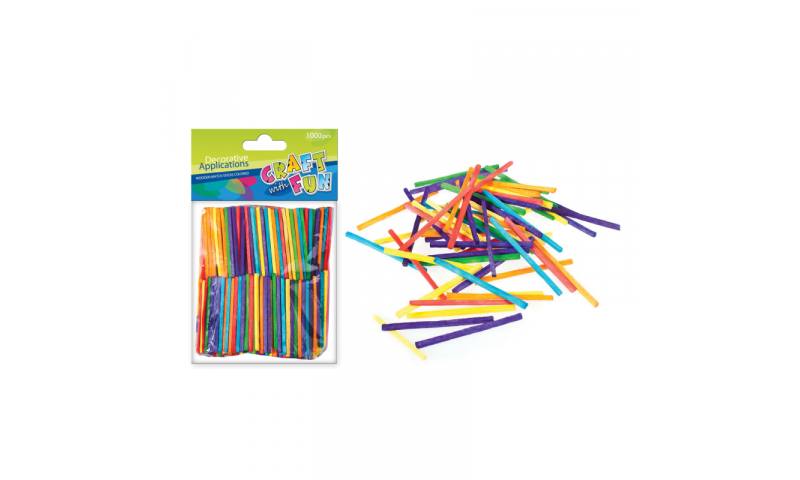 CRAFT with FUN WOODEN MINI STICKS COLOURED 1000PCS (New Lower Price for 2021)