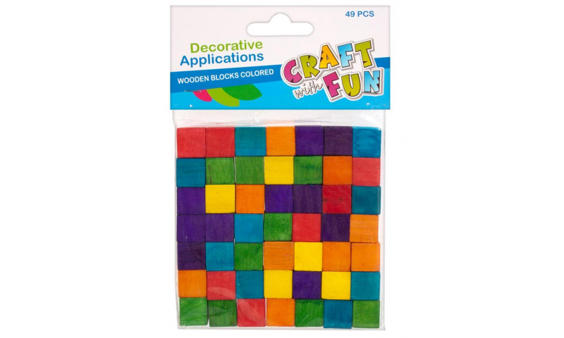 Craft with Fun Wooden Blocks Asstd Colours 49pcs (New Lower Price for 2021)
